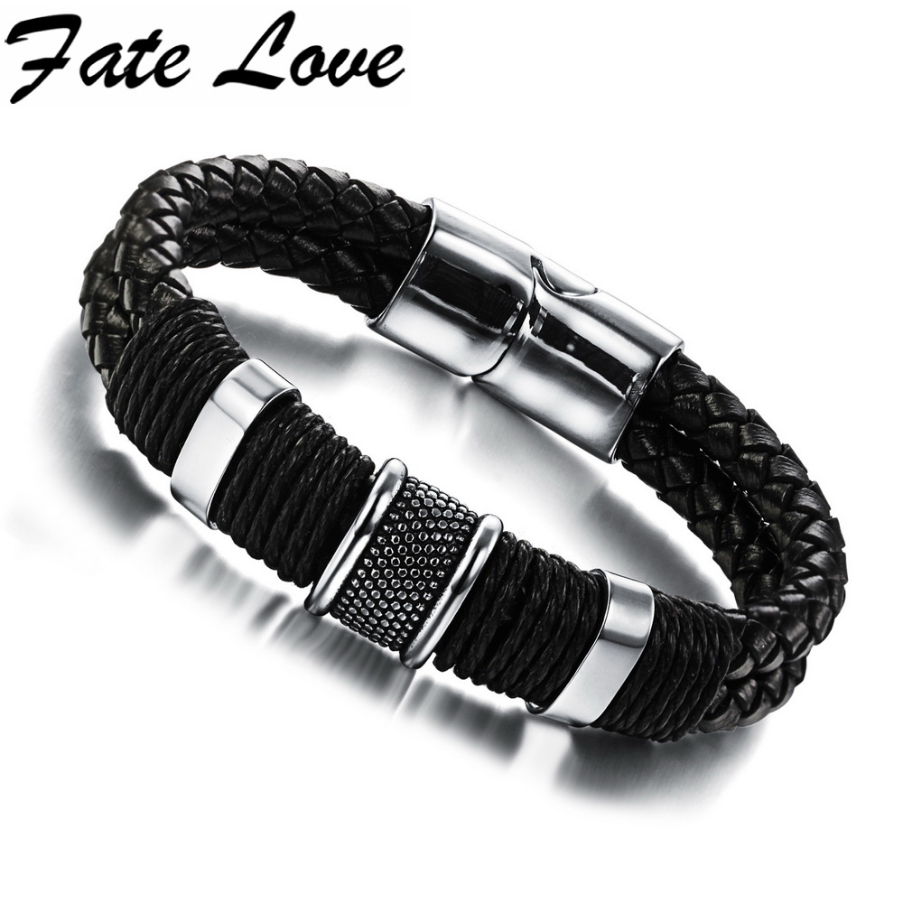 Fate Love Casual Genuine Leather Bracelets Men Magnetic Buckle Bracelet High Quality 20mm Length New Punk FL891