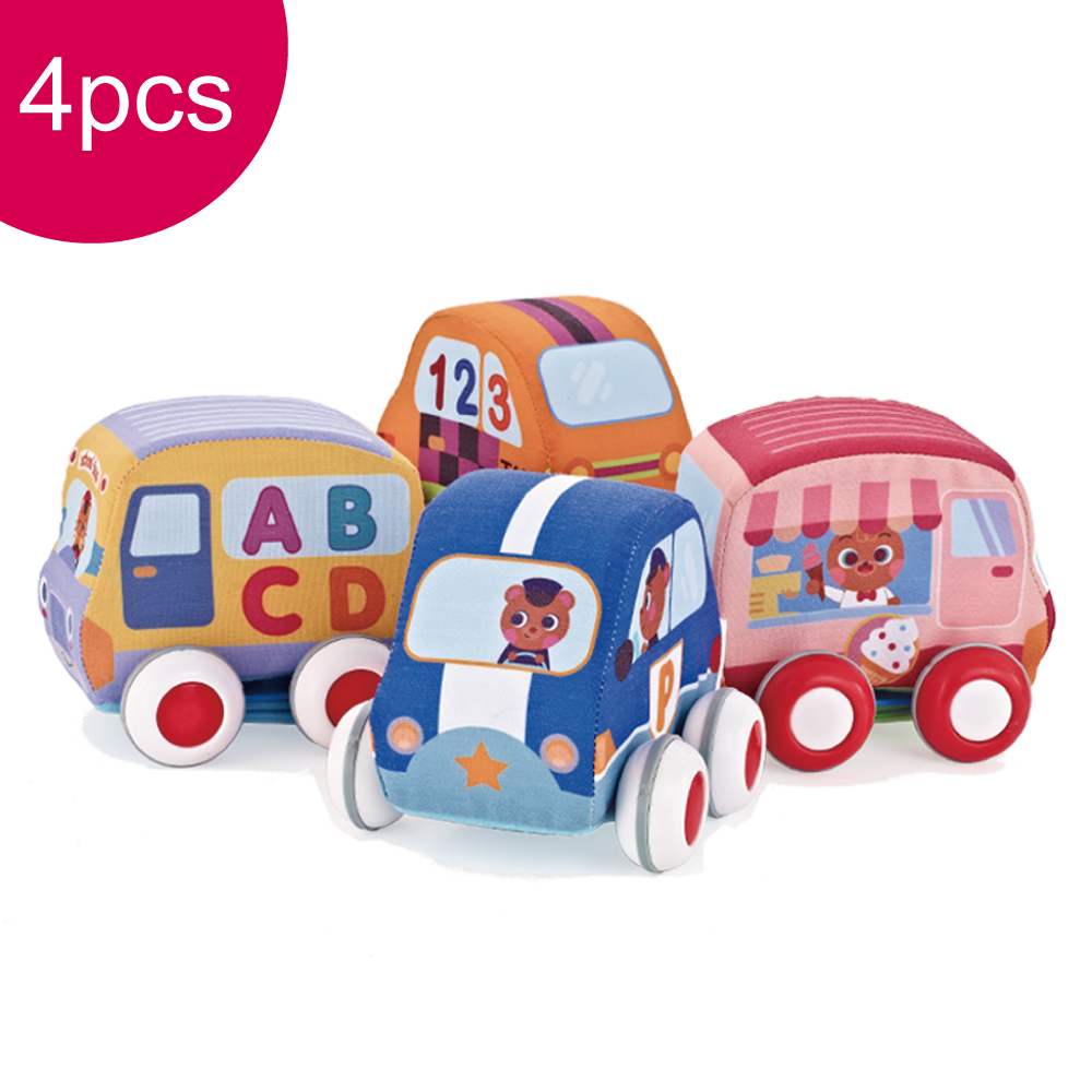 Cartoon Pull Back Car Soft Baby Toy Set Resistance To Fall Vehicle Toys Early Educational Cloth Car For Children