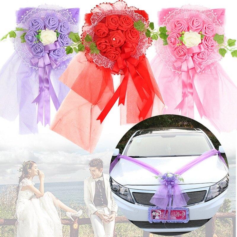 Wedding Car Decoration Diy : Multi color wedding car decoration diy pompom wreath decorative