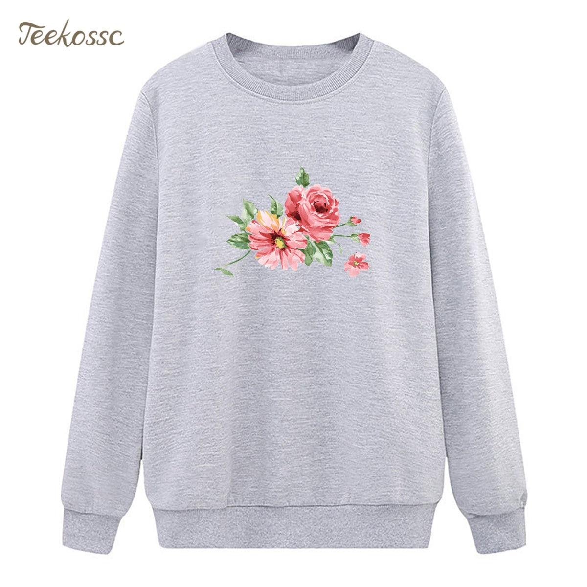 Ink Flowers Sweatshirt Print Hoodie 2018 Winter Autumn Women Lasdies Pullover Fleece Warm Loose Vivid Chinese Style Streetwear