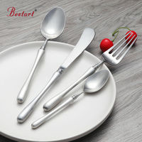 16 24 Pcs Luxury Silver Cutlery Set Rounded Handle 18 10 Stainless Steel Dinnerware Set Flat