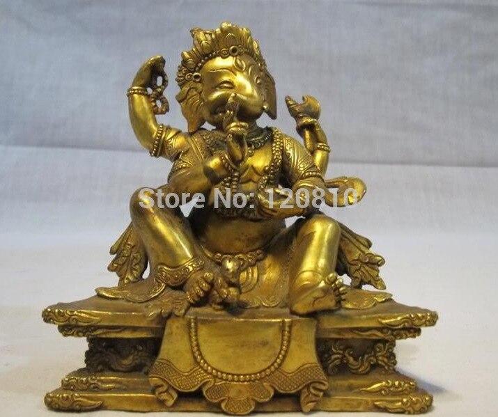 Tibet Pure Bronze Elephant Ganapati Buddha Statue