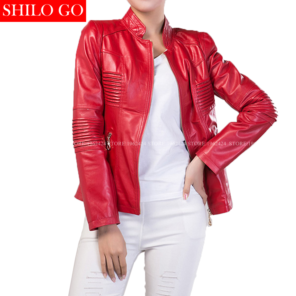 Fashion women high quality Sheep skin Mandarin collar Horizontal stripes sexy locomotive red zipper genuine leather jacket XXXL