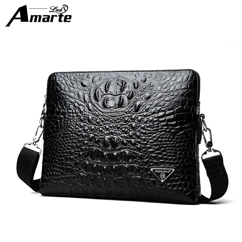 Amarte Fashion New 2018 Men's Bag Shoulder Crossbody Bags For Men Messenger Bag Leather Pu Plaid Small Male Black  Bolso Hombre