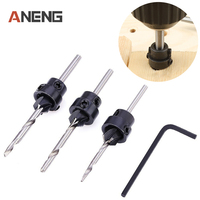 7PCS Woodwork Tapered Countersink Drill Bits Set Depth Stop Collar Adjustable Collar Woodworks Wood Tools Small
