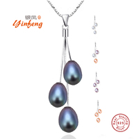 MeiBaPJ Hot Sale Collier 100 Genuine 925 Sterling Silver Pendant Necklace Multi Color Freshwater Pearl