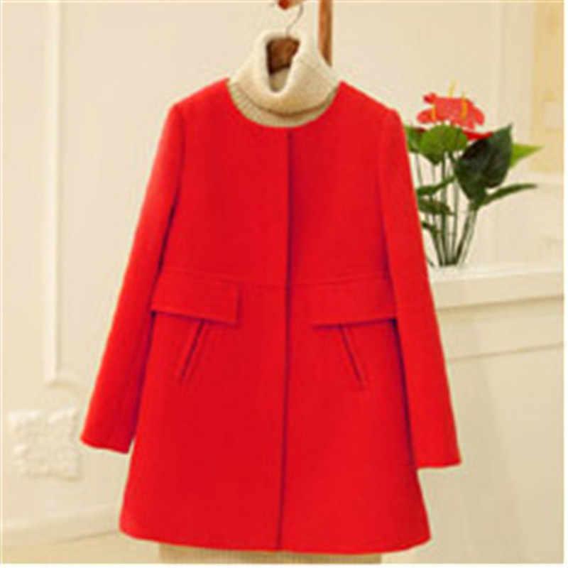 Zima kobiety wełniany płaszcz 2018 jesień zima nowy duży rozmiar damski długi luźny duży rozmiar kobiet wełniany płaszcz dorywczo płaszcz z wełny J806