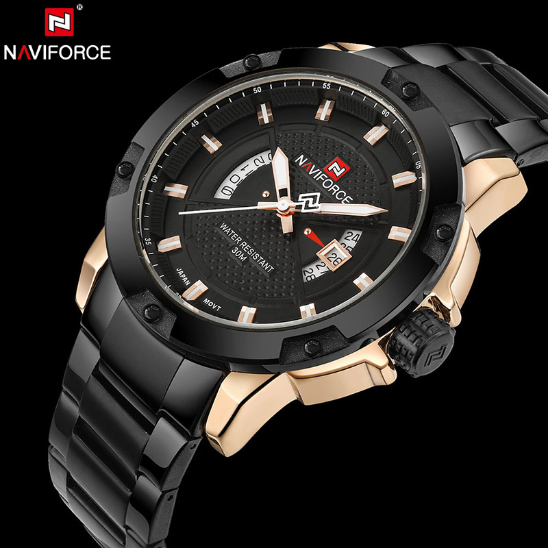 NAVIFORCE Luxury Brand Men Stainless Steel Gold Watch Men's Quartz Clock Man Sports Waterproof Wrist Watches relogio masculino new men stainless steel gold watch luxury brand auto date mens quartz clock roman scale sports wrist watches relogio masculino