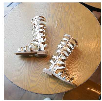 ... 2018 Summer 3 Colors Baby Girl Cut-Outs Hollow Roman Sandals Children  Knee Boots Gladiator ... 414ab3d7f098