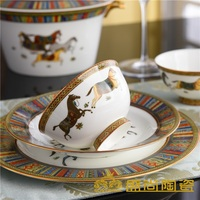 Gilded Dinnerware Sets Bone china / 58pcs Tea Cups Ceramic and Dinnerware Kitchenware with Horses Equestrian