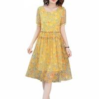 2019 Summer Floral dress women yellow Vintage casual Loose Short sleeve dress fashion O Neck Ruffles dress women