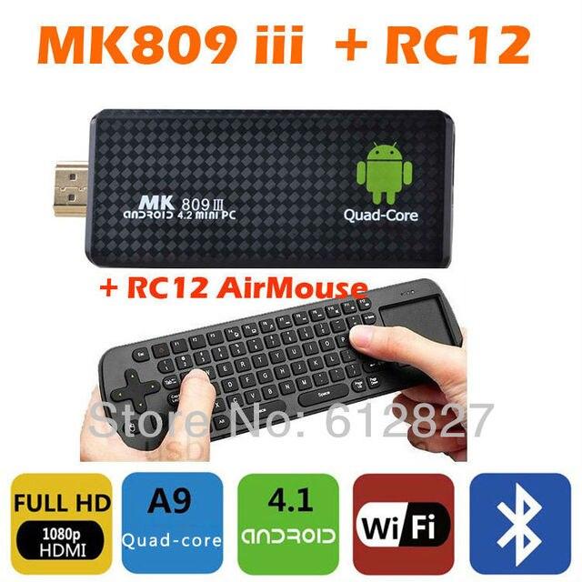 ce2cf618223 MK809 iii Android 4.2 Mini PC TV Box Rockchip RK3188 Quad core 2GB RAM  Bluetooth MK 809 III TV Stick MK809III + RC12 Air mouse