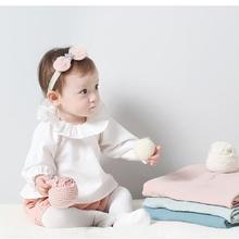 3 шт./лот Футболки для маленьких девочек детская одежда длинные рукава, младенческой оборками футболки для мальчиков 8-24 м Сильвия 537020235629