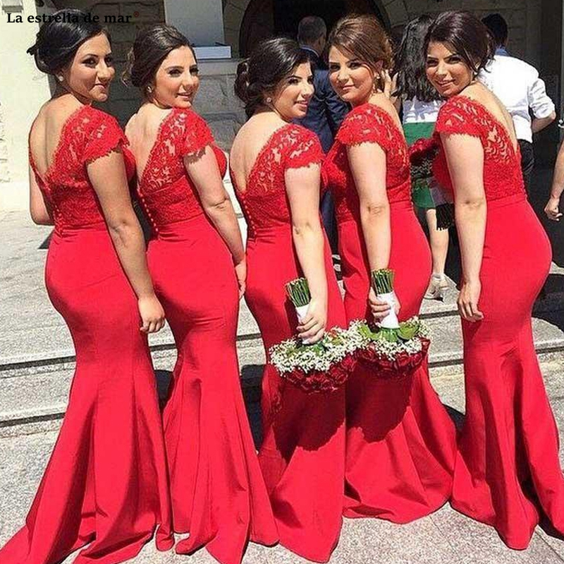 Red   Bridesmaid     Dresses   Lace Sheer Boat Neck Mermaid Satin Floor Length Wedding Guest Gowns Capped Short Sleeves Open Back