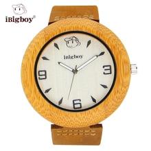 IBigboy Protable Relojes De Madera De Madera De Bambú Luminoso Analógico Correa de Cuero Del Cuarzo de Japón Reloj IB-1609Ba