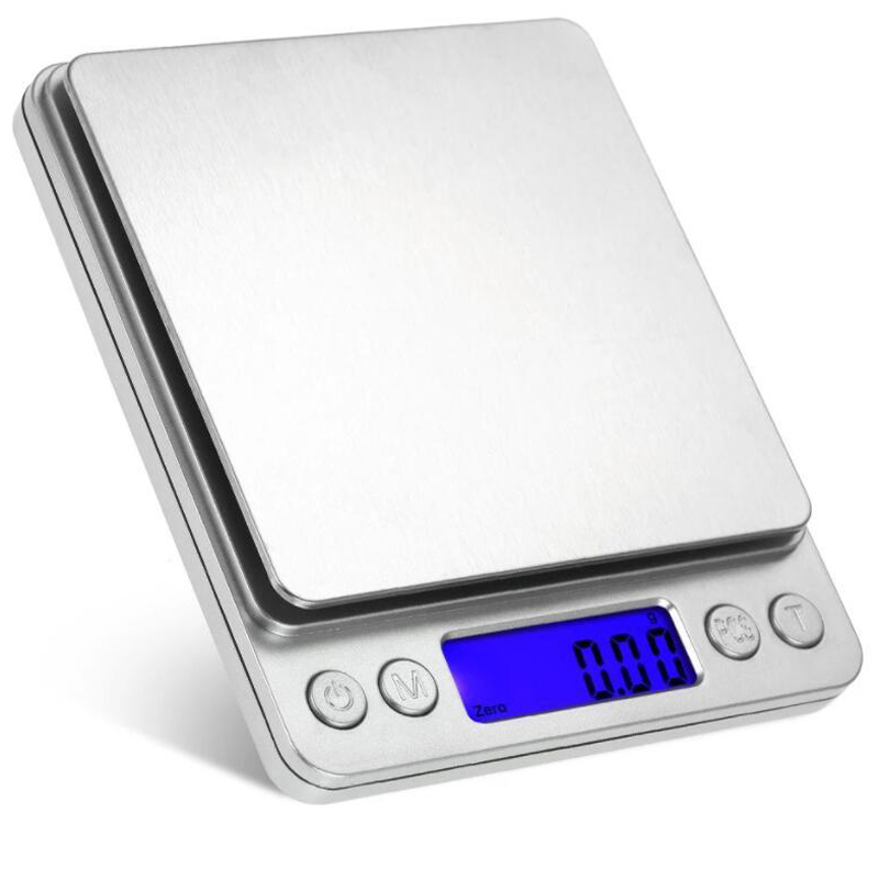 Digital Scale 500g 0.01g Electronic Scales Pocket Case Jewelry Scale Kitchen Weight Balance 3kg 0.1g Silver  With 2 Tray Весы