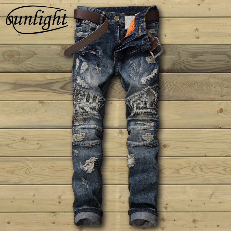 sunlight JEANS Men's Trousers Big size 29-38 Male Pencil Jean Pants Blue denim overalls skinny biker jeans men Jeans Ripped new mens skinny jean overalls blue suspenders multi pocket bib pants holes denim trousers size m 2xl