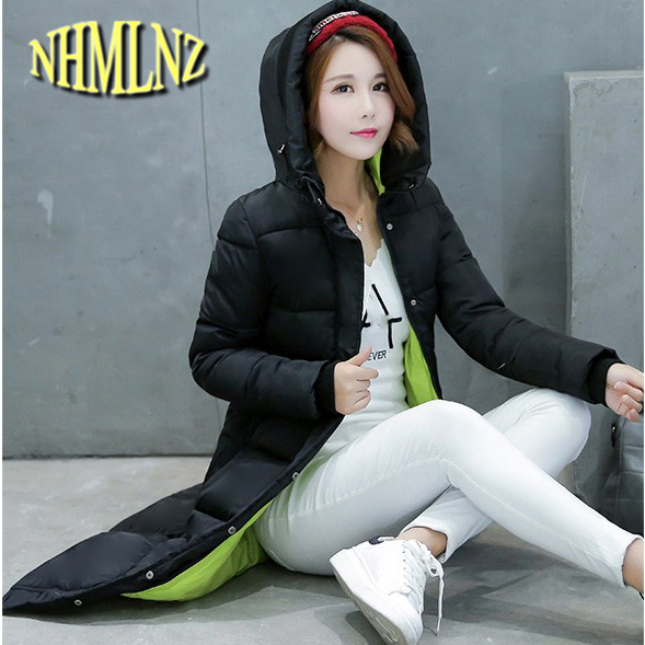 Women Winter Coat Medium Long Long sleeve Hooded Jacket Thick Warm Cotton Down jacket New Style Big yards Slim Ladies Coat G2725 winter women down jacket hooded thick warm cotton coat large size new style casual jacket slim long sleeve medium long coat 2580