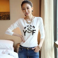 New 2017 Women Tops And Tees Fashion Cotton Long Sleeve Slim Women Spring Autumn Girl Student