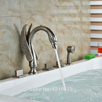 Uythner недавно Никель матовый ванна кран W/ручной душ бортике роскошный Лебедь Душ Ванна смеситель кран