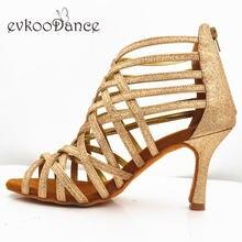 Evkoo танцевальная обувь с золотыми блестками профессиональный