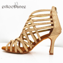 Evkoodance Golden Glitter Professional 8.3cm Heel Zapatos De Baile Size US 4-12 Latin Ballroom Dance Shoes For Women Evkoo-546