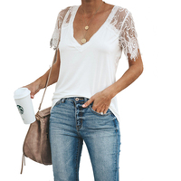 Women Blouse 2019 Summer New Arrival White Shirt Female Tops Casual Short Sleeve Lace Blouse Ladies Vintage Tunic Women Clothes