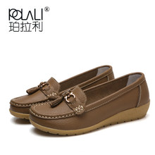 POLALI 2019 New Arrival Shoes Woman Genuine Leather Women Flats Slip On Women's Loafers Female Moccasins Shoe Plus Size 35-44(China)