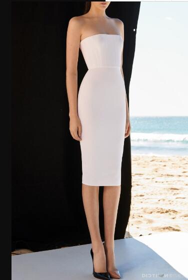 Robe sans bretelles Bandage élégant blanc Sexy femmes sans manches boîte de nuit soirée robes d'été moulante