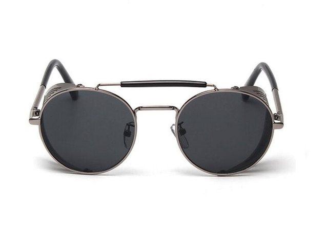 Retro Steam Punk Sunglasses Round Designer Metal Shields Sunglasses Men Women UV400 Gafas De Sol Pr3NUUZ