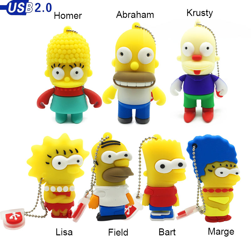 cute cartoon usb flash drive 128gb memory usb 2.0 16gb 4GB 8GB usb stick 64GB wholesale creative Simpson pendrive 32gb pen drive-in USB Flash Drives from Computer & Office