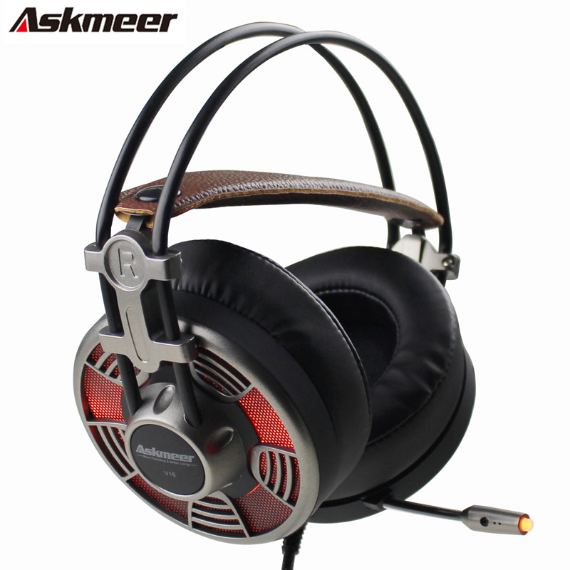 Askmeer V16 USB Professional Stereo Gaming Headphones With Microphones Led Light Big Earmuff PC Gamer Game Headset for Computer lucky john croco spoon big game mission 24гр 004