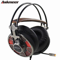 Askmeer V16 USB Professional Stereo Gaming Headphones With Microphones Led Light Big Earmuff PC Gamer