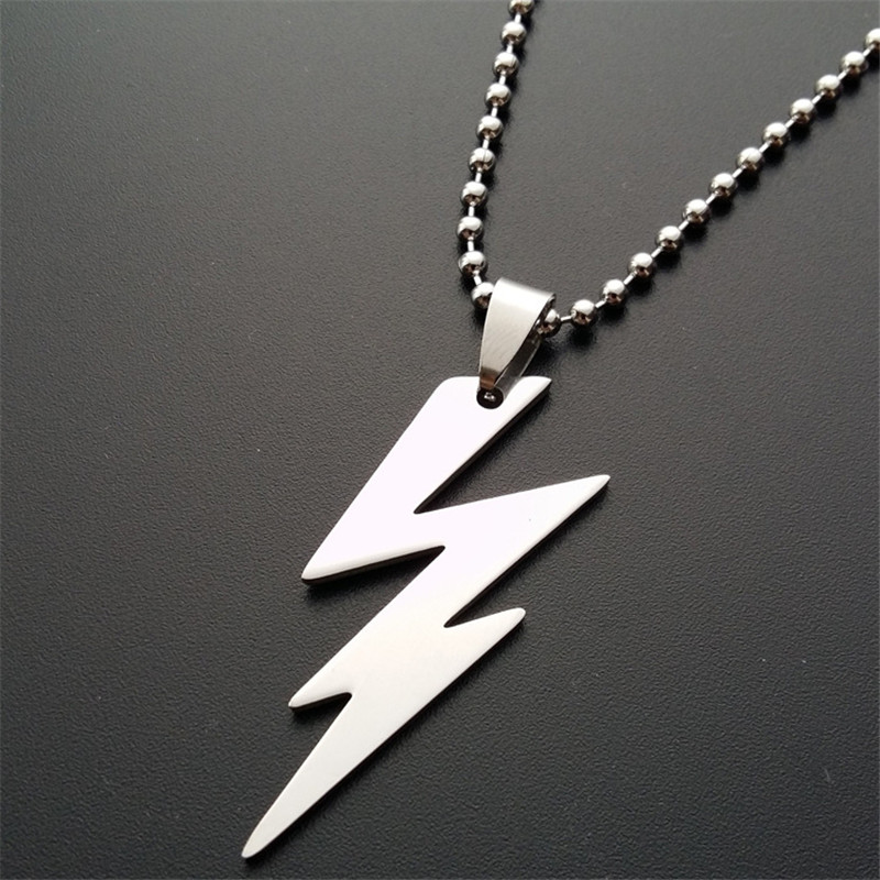 ER 2016 New Arrival Power Thunder Lightning Bolt Pendant Necklace Mens Biker Stainless Steel Jewelry Creative Gift PN011