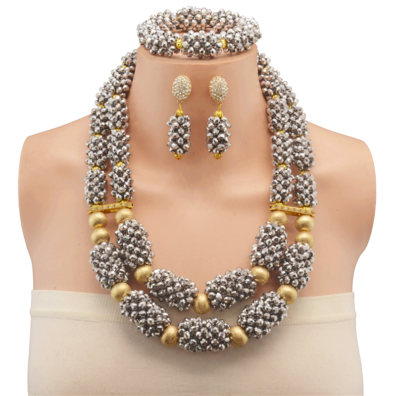 Crystal Wedding Jewelry Sets for Women Silver-color Necklace Long Earrings African Beads Jewelry Set