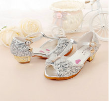 2018 High Heels Princess Shoes Girls Sandal anak-anak sepatu Crystal Bow Shiny Fish Mulut Sandal sepatu hak tinggi untuk anak-anak