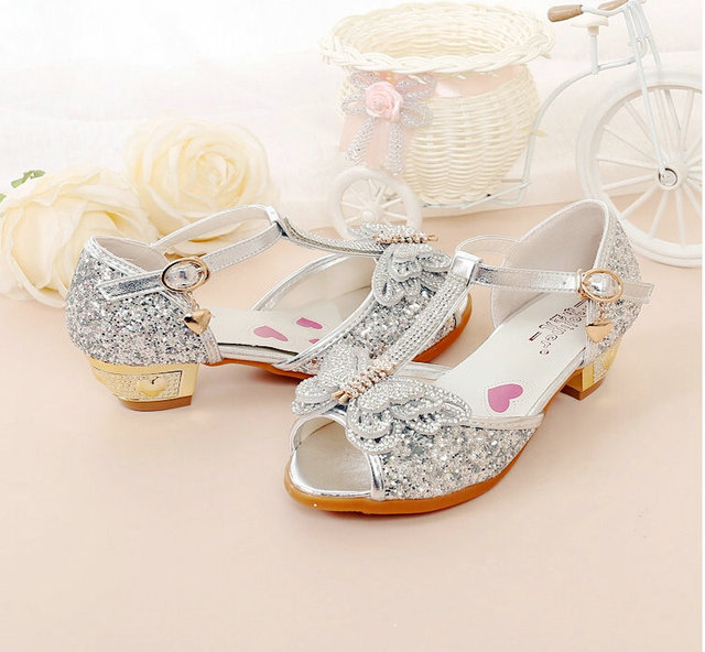 b961f50c6628d 2018 High Heels Princess Shoes Girls Children s Sandals shoes Crystal Bow  Shiny Fish Mouth Sandals high heel shoes for children