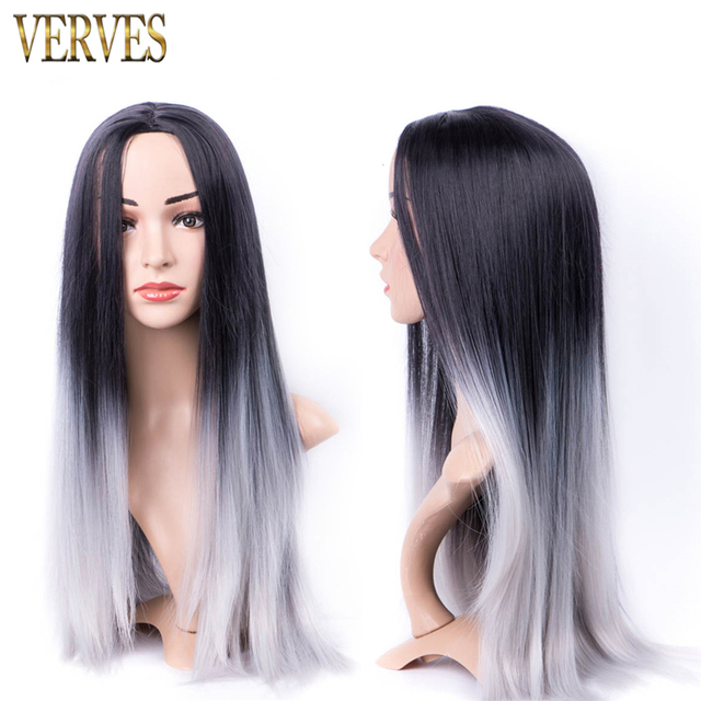 Grey Ombre Wig Hair Synthetic Wigs for Black Women 26inch Long Straight Natural Cheap Hair Gray Wig cosplay Female Hair with net