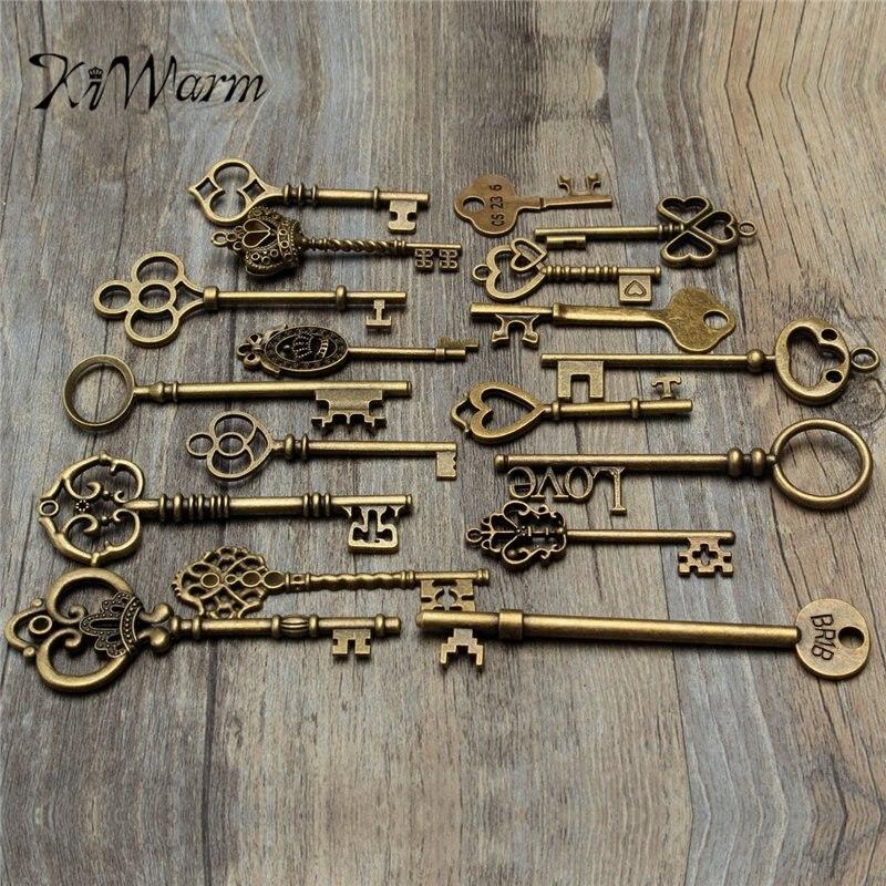 KiWarm Fashion Set Of 18 Antique Vintage Old Look Bronze Skeleton Key Heart Bow Lock pendant Necklace Hanging Decor DIY Crafts