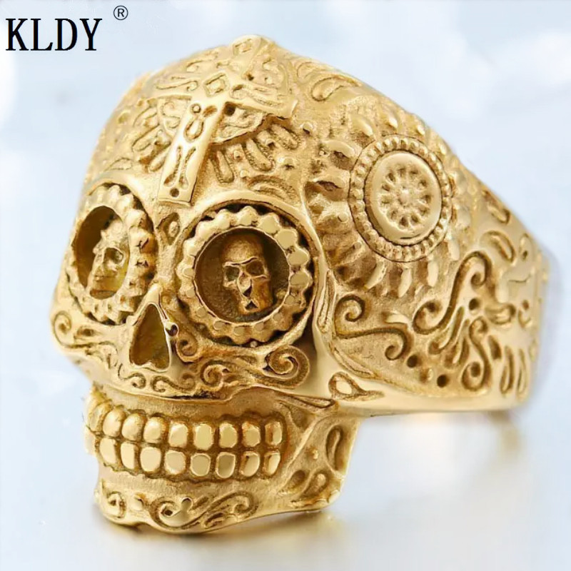 KLDY Biker skull Rings men gold Skeleton Stainless Steel male Finger rings women punk rock Party Personality Jewelry hot sale opk biker stainless steel men bracelet