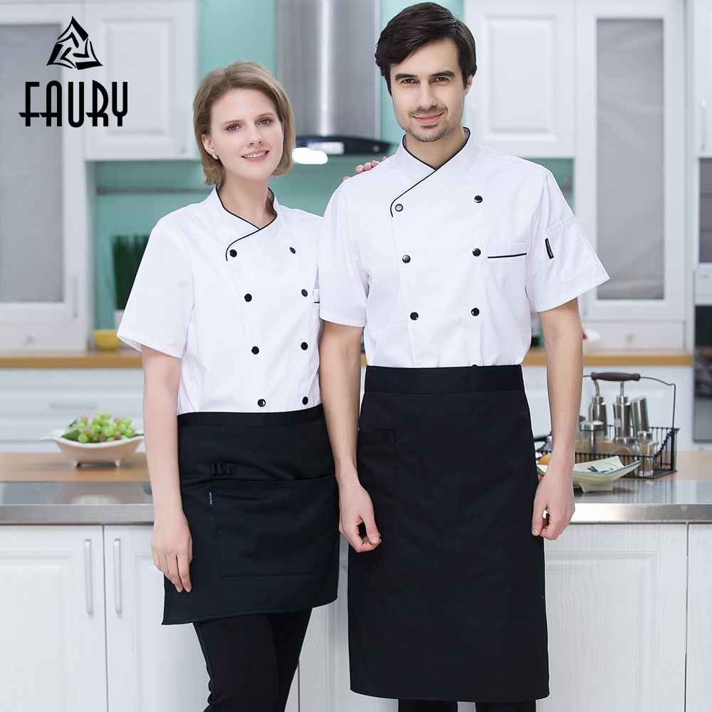 White Red Black New Double Breasted Wholesale Chef Uniforms Kitchen Cooking Restaurant Hotel Waiter Bakery Work Jackets Aprons