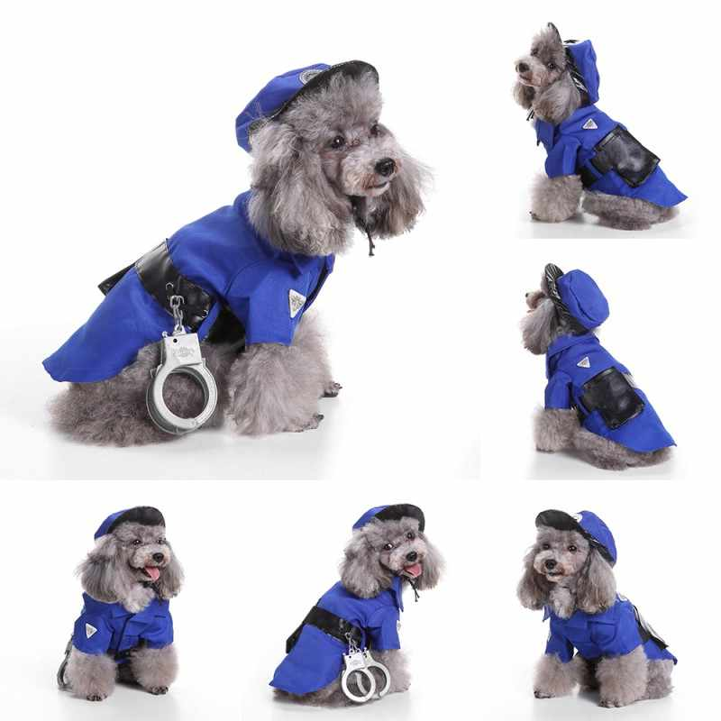 2018 Police And Prisoner Cosplay Costumes Pet Dog Cat Puppy Shirts Set With Handcuffs Hat Party Halloween Supplies