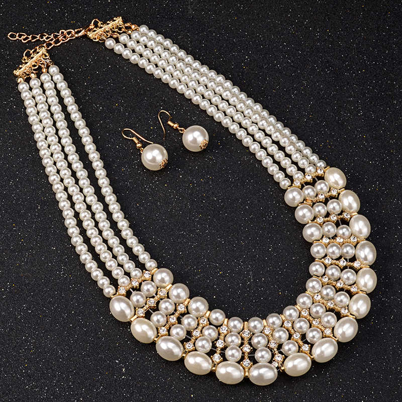 UDDEIN Multi layer pearl necklace women bridal wedding jewelry sets vintage statement choker necklace  African beads jewelry