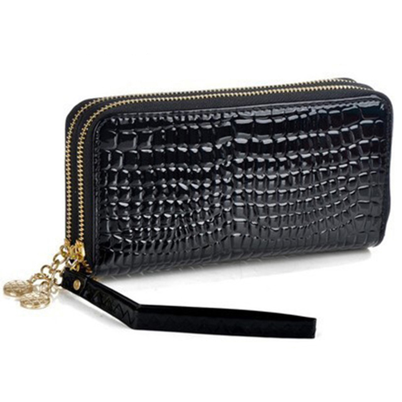 Hot Sales Womens Long Wallets High Quality Pu Leather Women Wallets Lady Luxury Double Zipper Clutch Wallet Cards Holder Purses