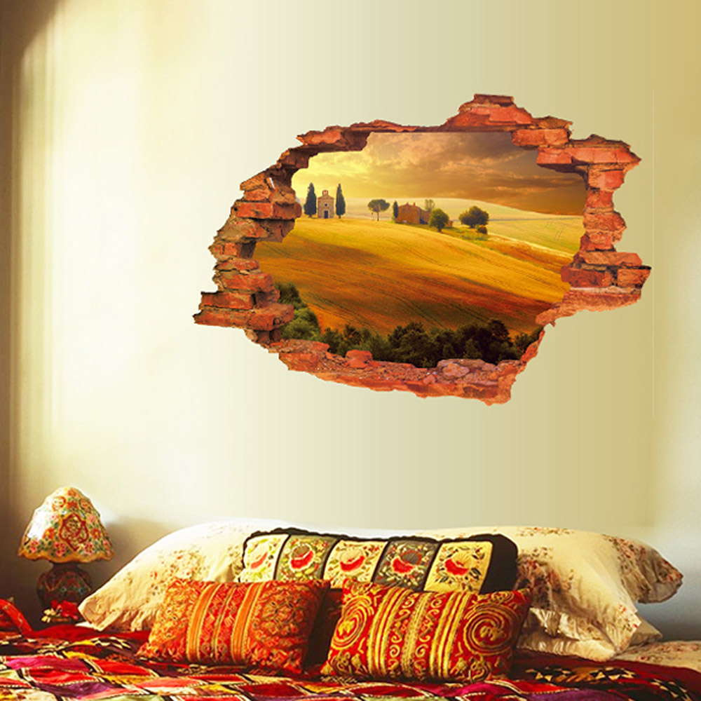Creative Home Decor 3D Wall Stickers Broken Wall Style Desert Village Pattern For Living Room Mural Art Wallpaper 60*90 CM