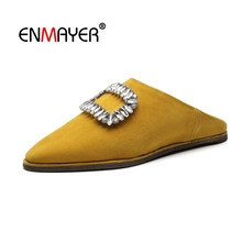 ENMAYER Women Flats Shoes women Glitter Rhinestone Pointed toe 2018 Spring Shoes women Shallow Mouth Black Kid suede CR1609 criss cross pointed toe suede flats