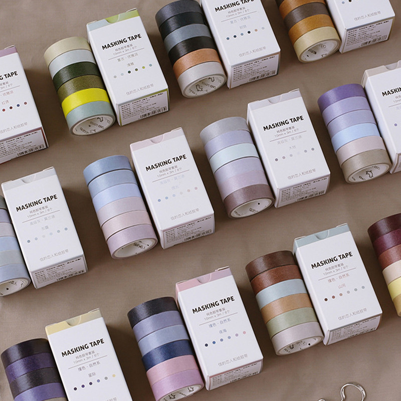 6 Rolls/pack Washi Tape Set Elegant Color Paper Masking Tapes Japanese Washi Tape DIY Scrapbooking Sticker