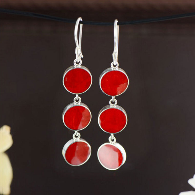 FNJ Red Blue Coral Earrings 925 Silver 100 S925 Sterling Silver boucle d oreille Long Drop