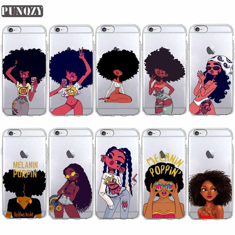 Preto Afro Menina Magic Melanina Poppin Caixa do telefone Para o iphone 11 pro max 5S 6 6s 8 7 Plus TPU Capa de Silicone Para o iphone X XR XS MAX