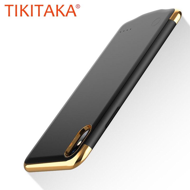 3in1 Ultra Fino Caso Carregador de Bateria para o iphone X Xs 6 6 s 7 8 Mais Banco de Potência Caixa de Bateria coque Chapeamento Textura de Metal Tampa